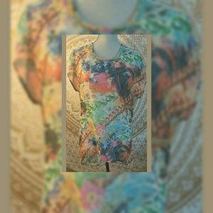 ANGIE Women's SILK multi color shirt size L
